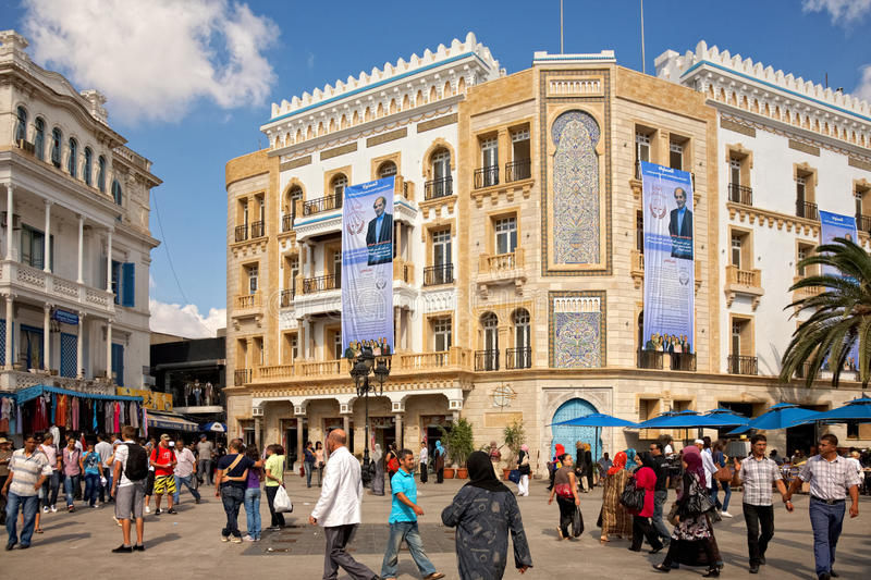 Election posters on the building in Tunis