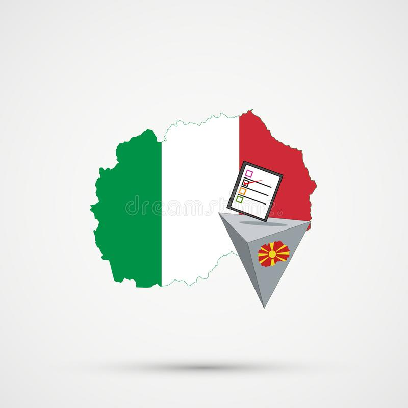 Election or referendum in Macedonia. Ballot box and casting vote on white background. Macedonia map in Italy flags in background stock illustration