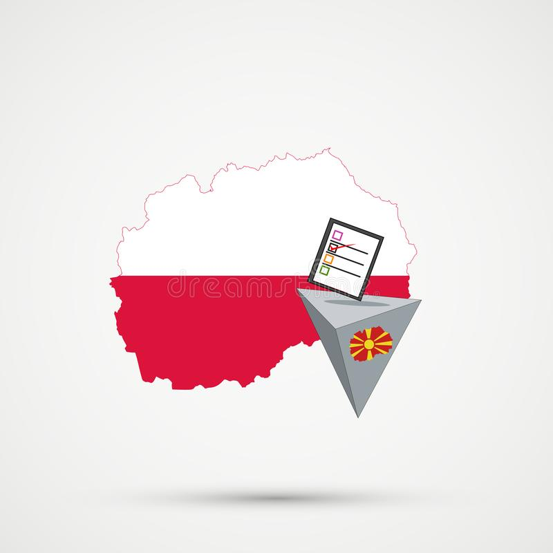 Election or referendum in Macedonia. Ballot box and casting vote on white background. Macedonia map in Poland flags in background vector illustration