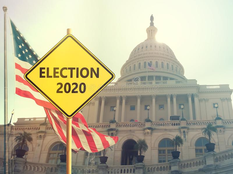 Election 2020. Sign with american flag on background stock photo