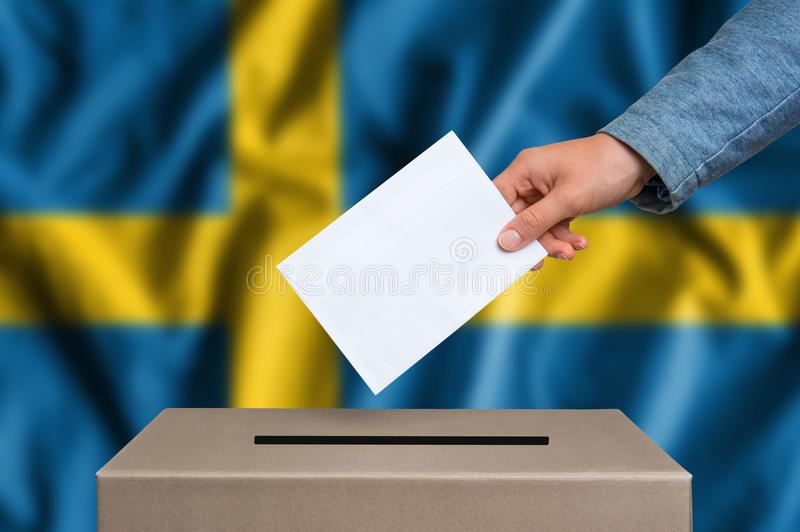 Election in Sweden - voting at the ballot box royalty free stock image