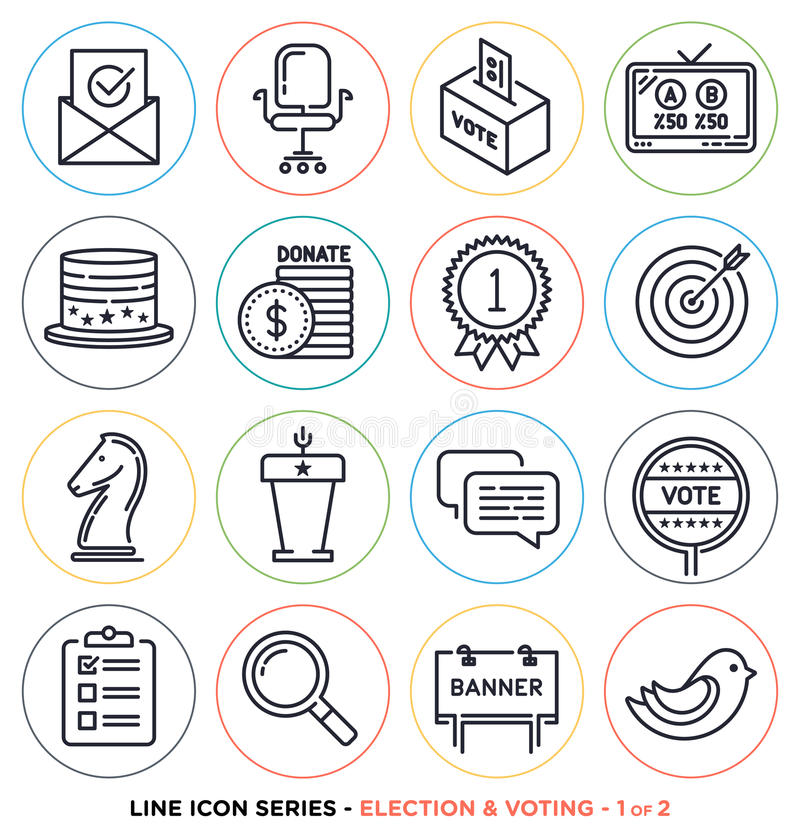 Election And Voting Line Icons Set Stock Vector Illustration Of