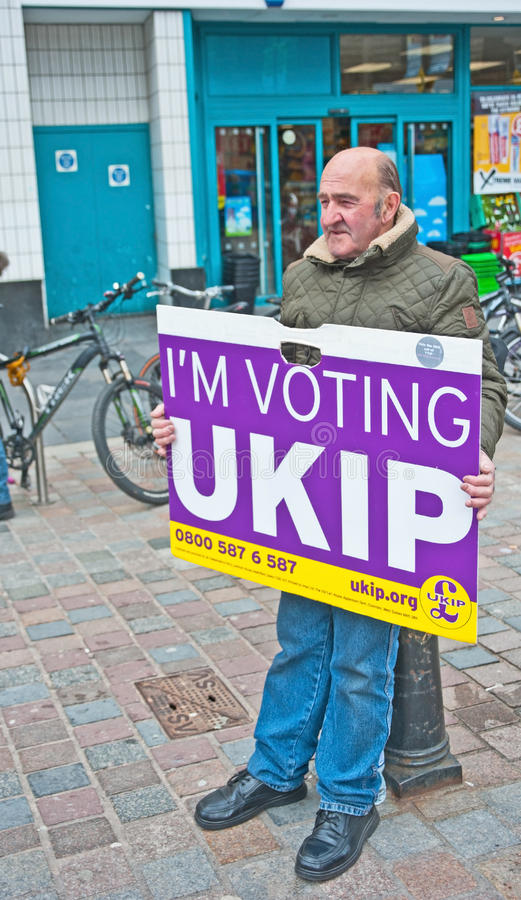 Electioneering for UKIP in UK in May 2015 stock photo