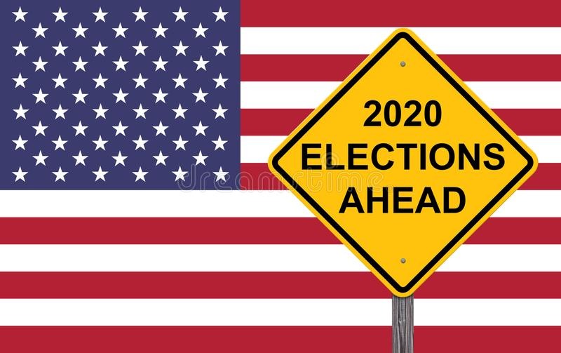 2020 Elections Ahead Caution Sign stock illustration