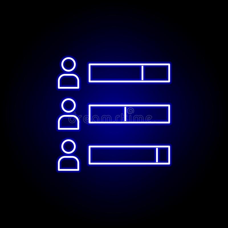 Elections bar chart icon in neon style. Signs and symbols can be used for web, logo, mobile app, UI, UX stock illustration