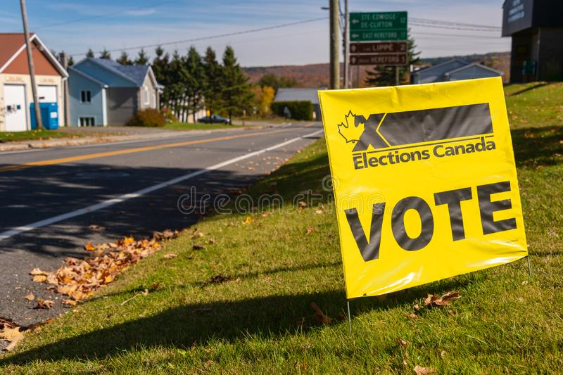 Elections Canada Vote sign in front of a polling station royalty free stock image