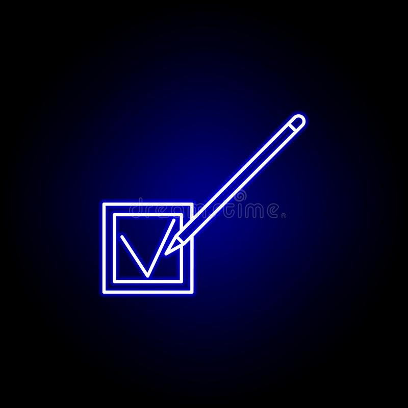 Elections checking pen icon in neon style. Signs and symbols can be used for web, logo, mobile app, UI, UX stock illustration