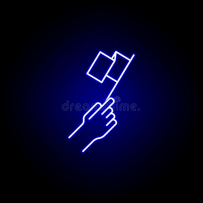 Elections flag icon in neon style. Signs and symbols can be used for web, logo, mobile app, UI, UX stock illustration