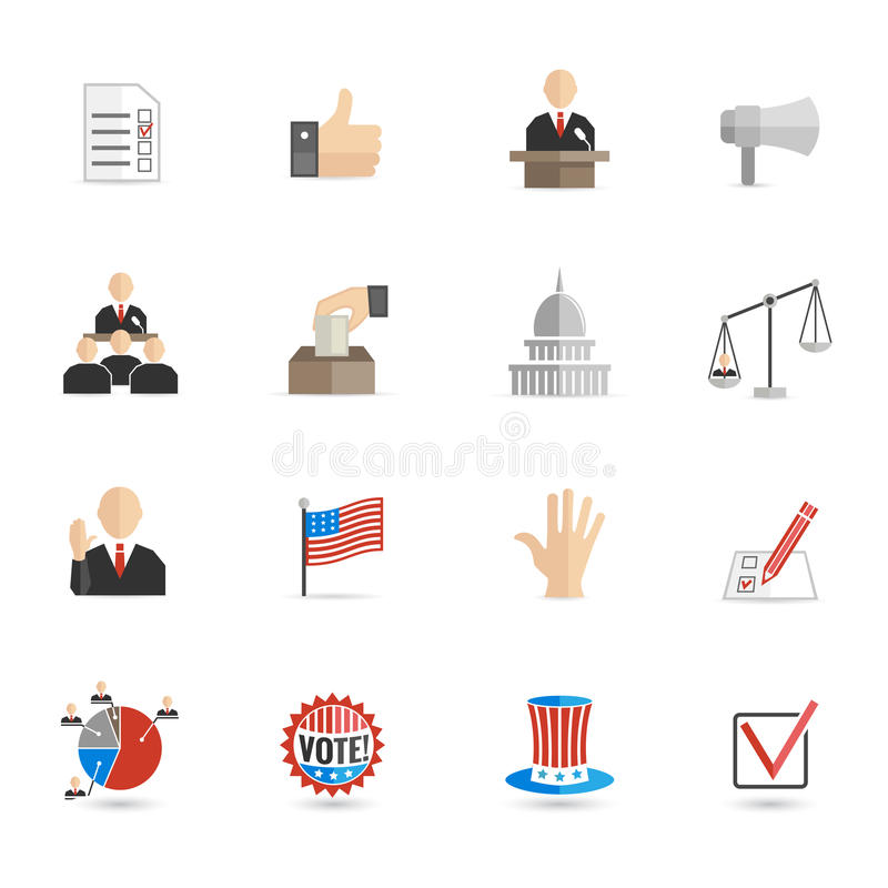 Elections icons flat set stock illustration