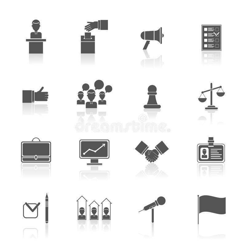 Elections icons set black stock illustration