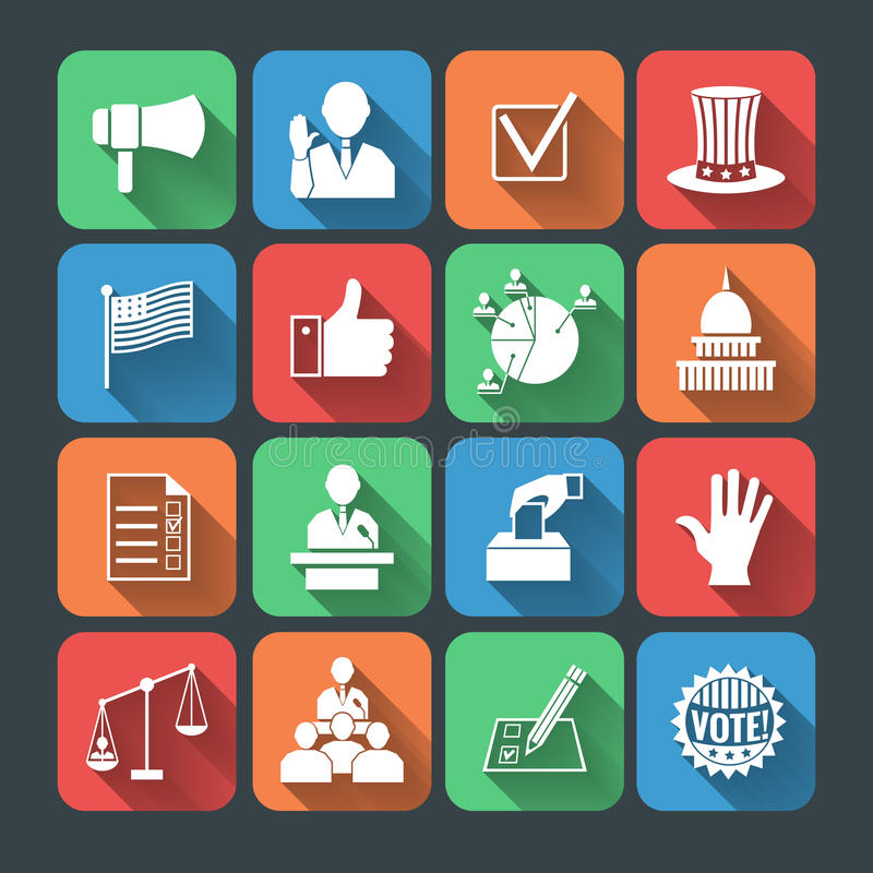 Elections icons set stock illustration