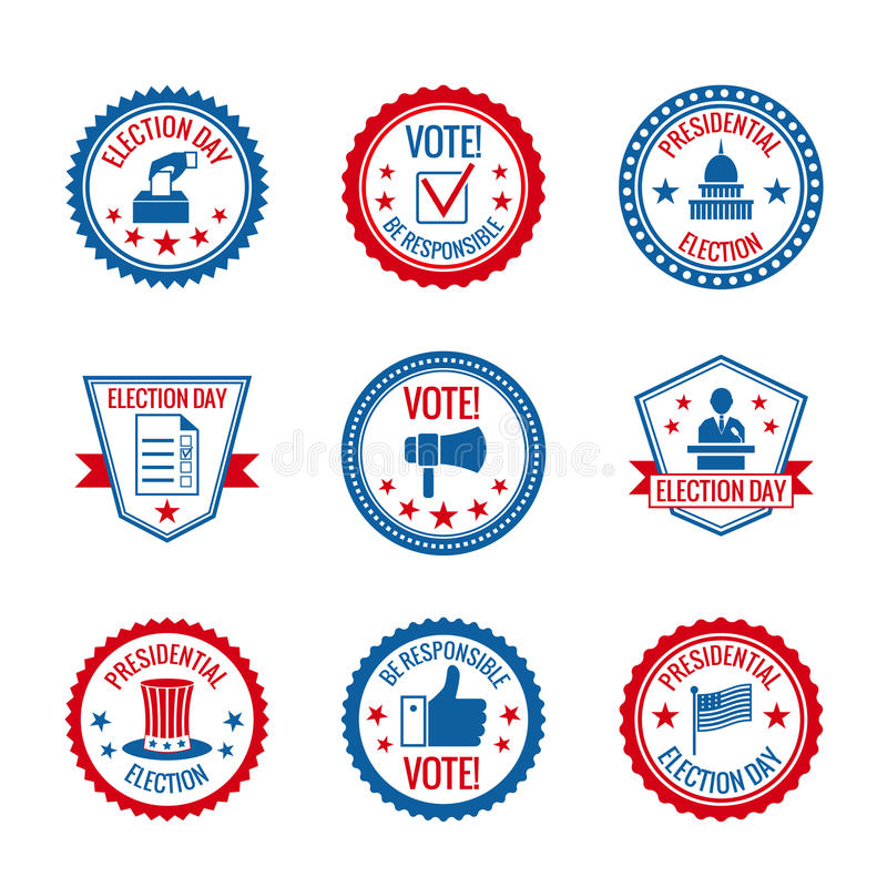 Elections labels set royalty free illustration