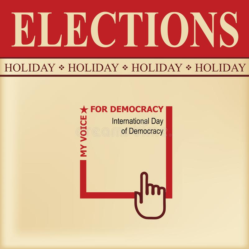 Day of Democracy. Elections sheet - Special positive news for Day of Democracy stock illustration