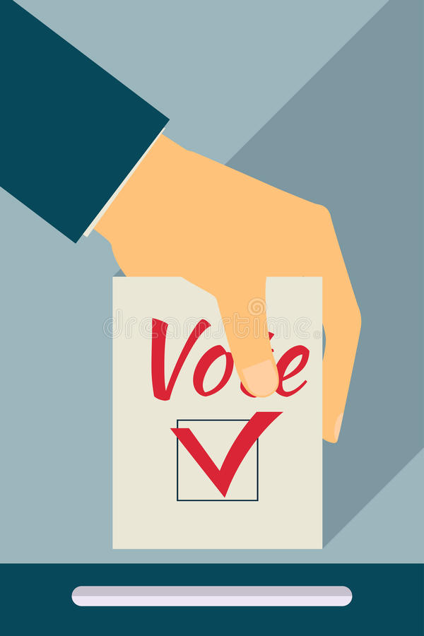 Elections. Vote. Hand holds ballot . Social poll. Flat style wit stock illustration