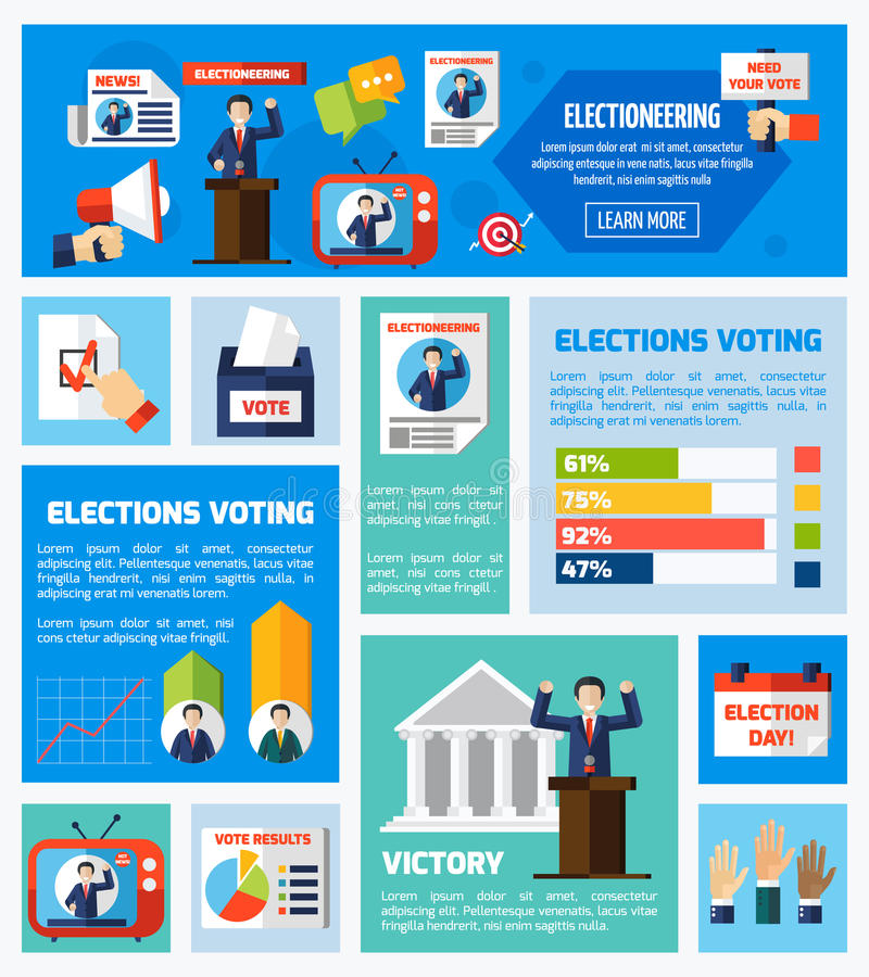 Elections And Voting Flat Collection stock illustration