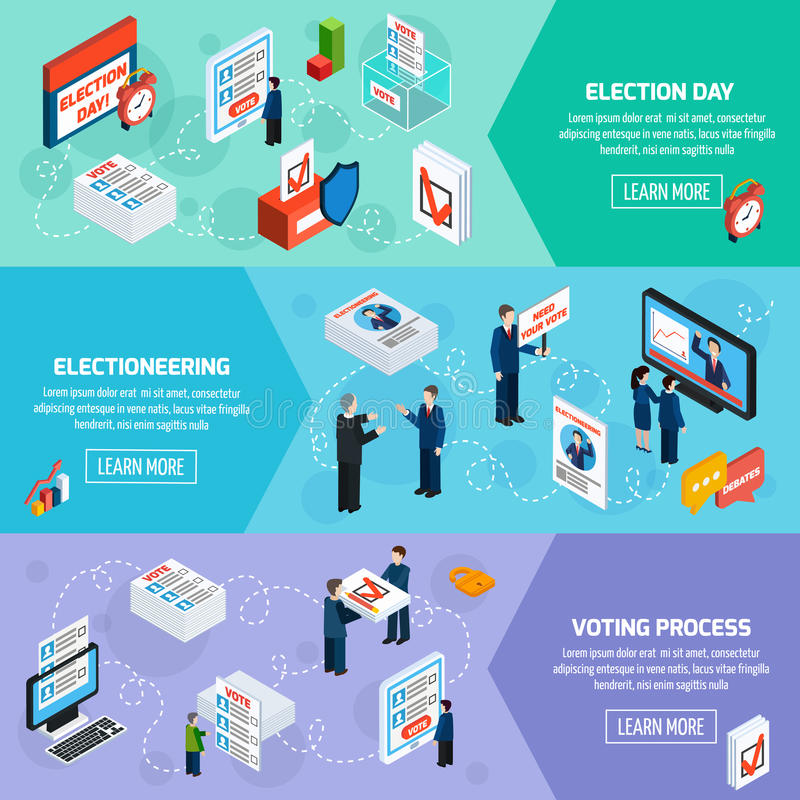 Elections And Voting Isometric Banners royalty free illustration