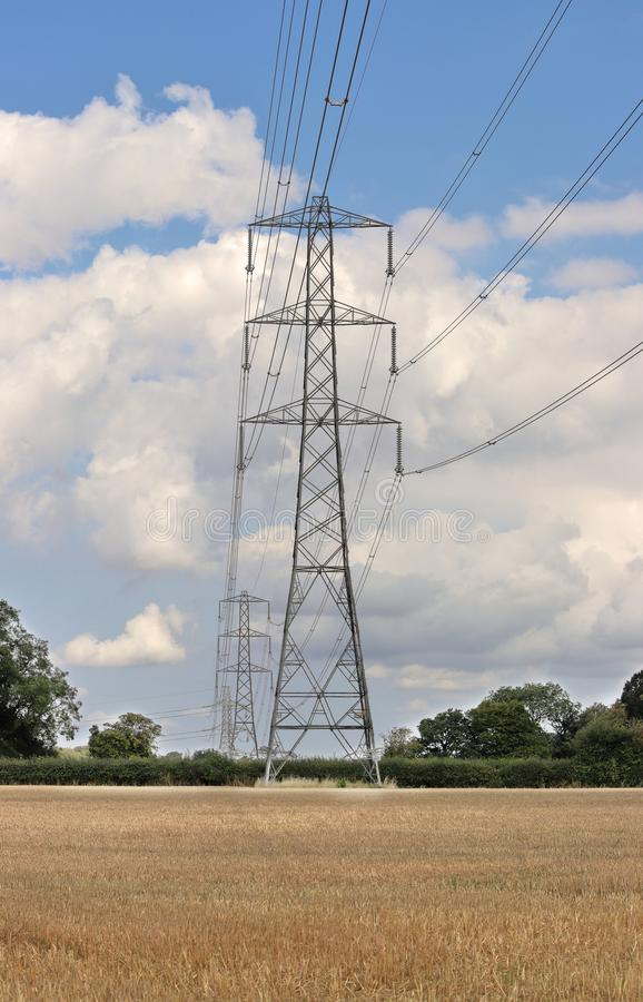 Electiricty Pylons in an English Landscape royalty free stock image