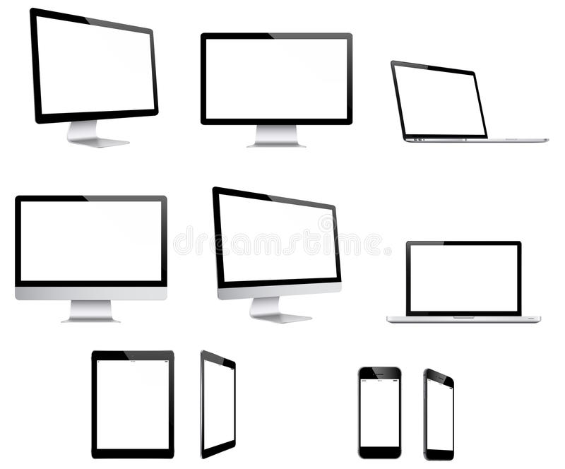Electronic devices. Combilation of 5 electronic devices in different perspectives