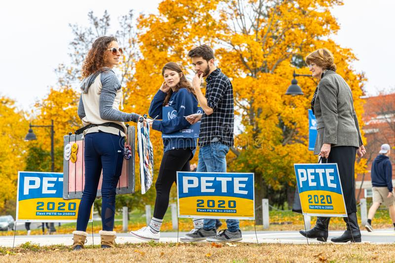 2020 Electoral Campaign: Supporter and Signs royalty free stock image
