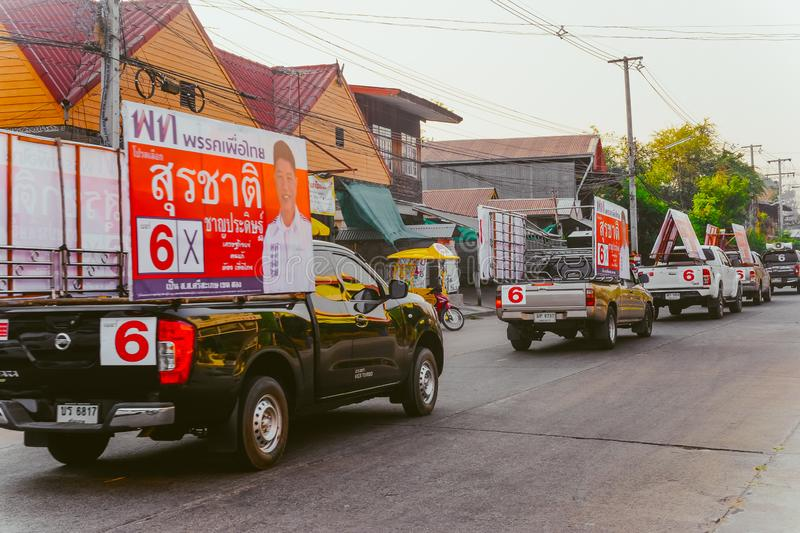 Electoral convoy of Phuea Thai Party is campaigning for election stock image