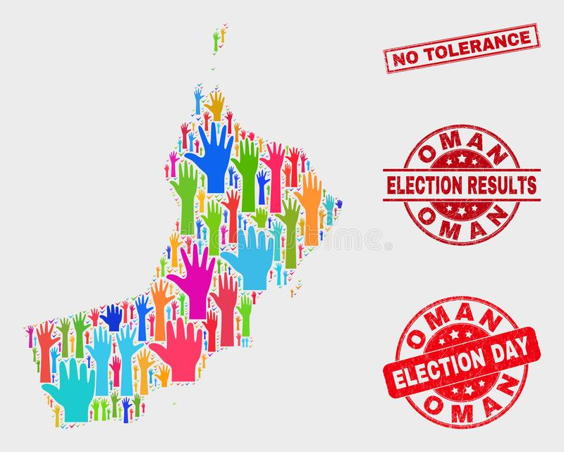 Collage of Ballot Oman Map and Grunge No Tolerance Stamp Seal vector illustration