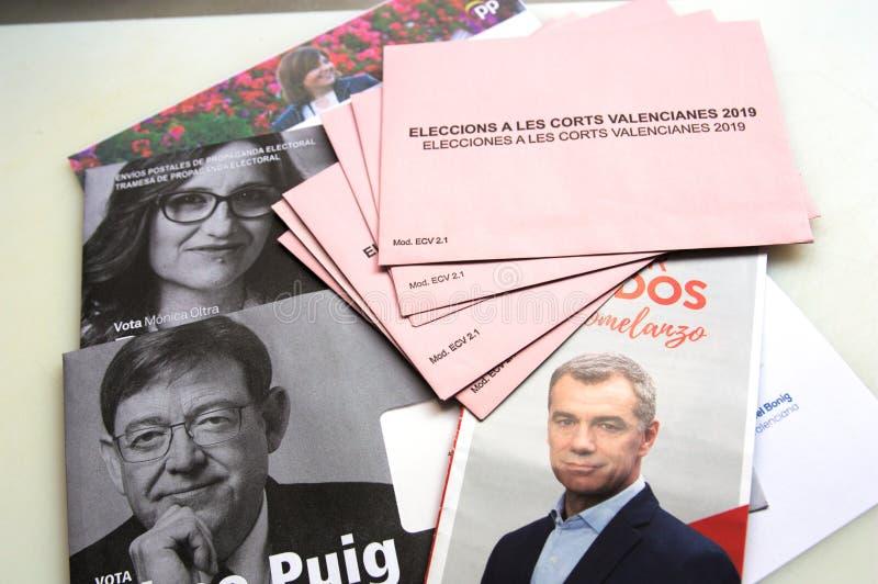 Electoral propaganda in the Comunitat Valenciana. April, 2019. Valencia, Spain. Envelopes of electoral propaganda with the photographs of the main political royalty free stock photography