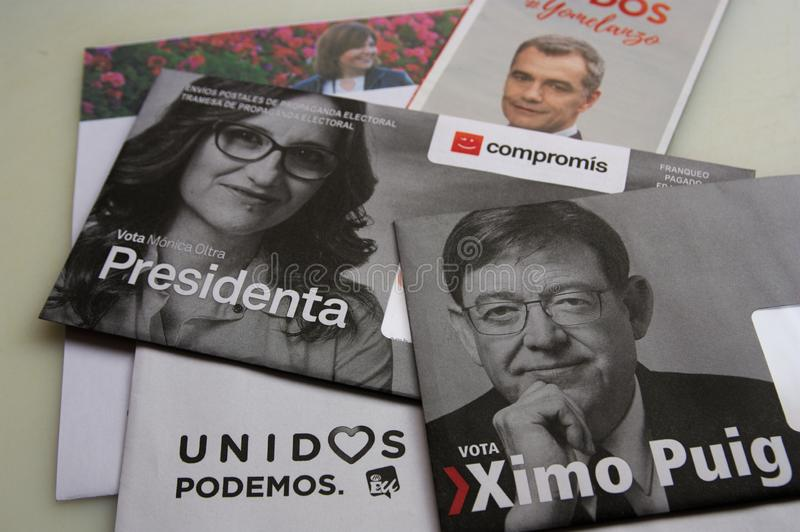Electoral propaganda in the Comunitat Valenciana. April, 2019. Valencia, Spain. Photographs of the main leaders of the parties that will form government in the stock image