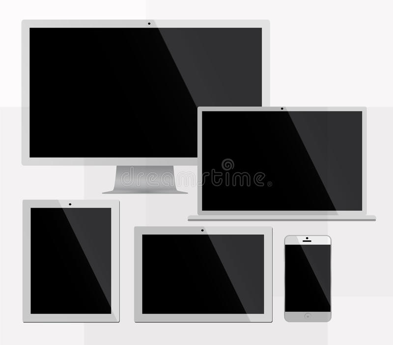 Electorinc devices white. Electronic devices white color, imac, iphone, ipod, ipad and macbook vector illustration