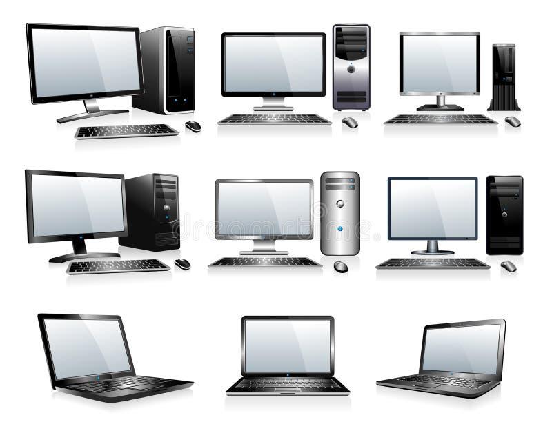 Electrónica de la informática - ordenadores, mesas, PC libre illustration