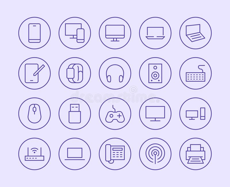 Electrónica, línea icono de la tienda de la tecnología Estilo plano del ejemplo del vector Iconos incluidos como TV, ordenador, t libre illustration
