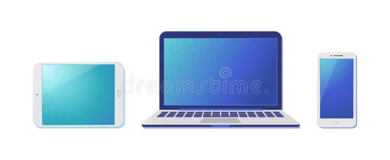 Electrónica portátil con pantallas en blanco ilustraciones realistas stock de ilustración