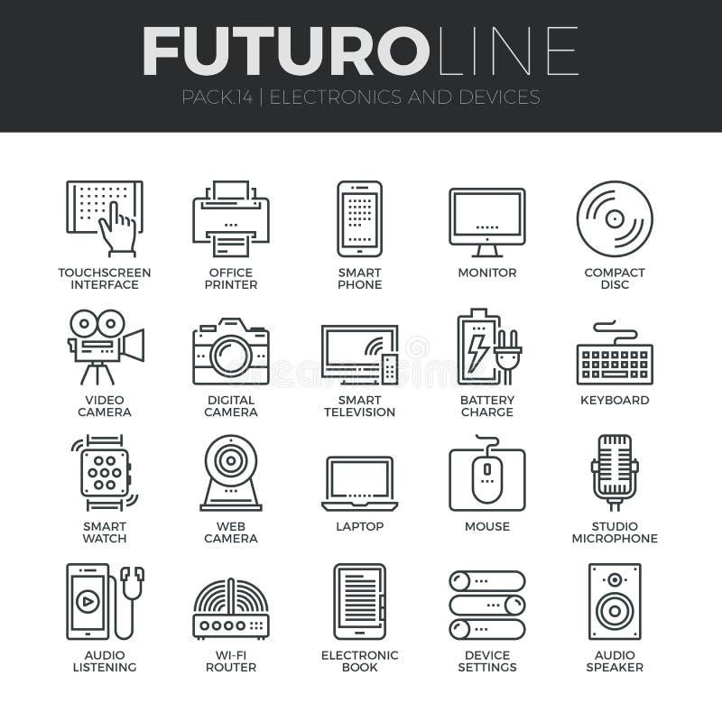 Electrónica y línea iconos de Futuro de los dispositivos fijados ilustración del vector