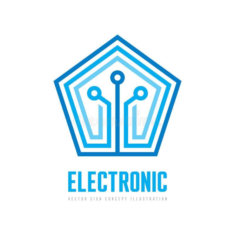 Electrónico - ejemplo del concepto de la plantilla del logotipo del vector Muestra del chip de ordenador de Pentágono Símbolo de  ilustración del vector
