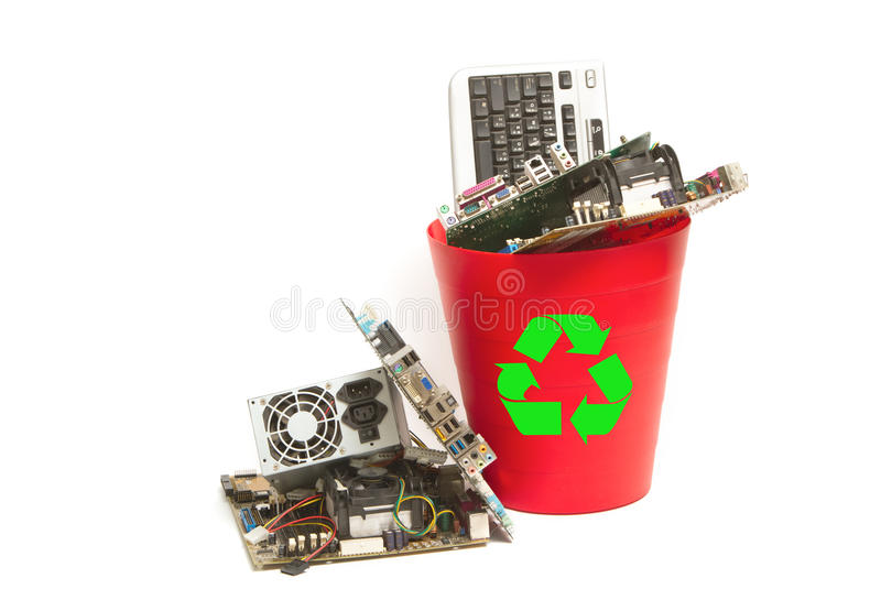 Electrónico y ordenador parte basura imagen de archivo