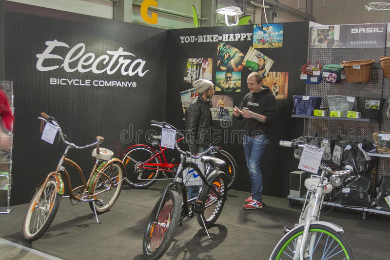 Trade Show Booth Visitors : Electra booth at bike trade show editorial photography