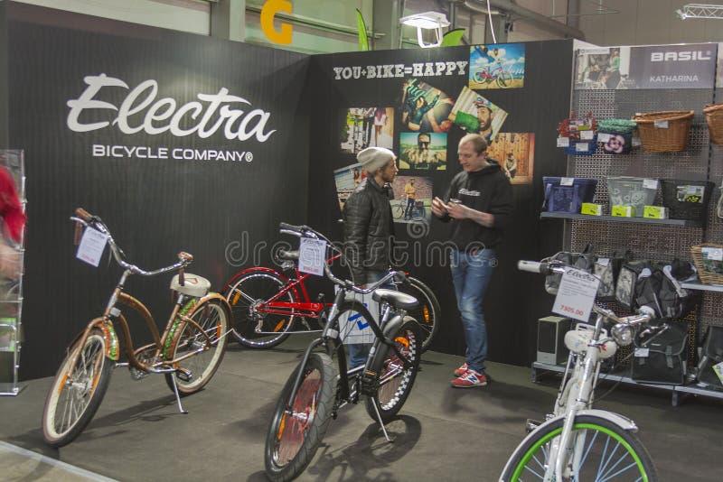 Electra-Stand an der Fahrradmesse stockfotografie