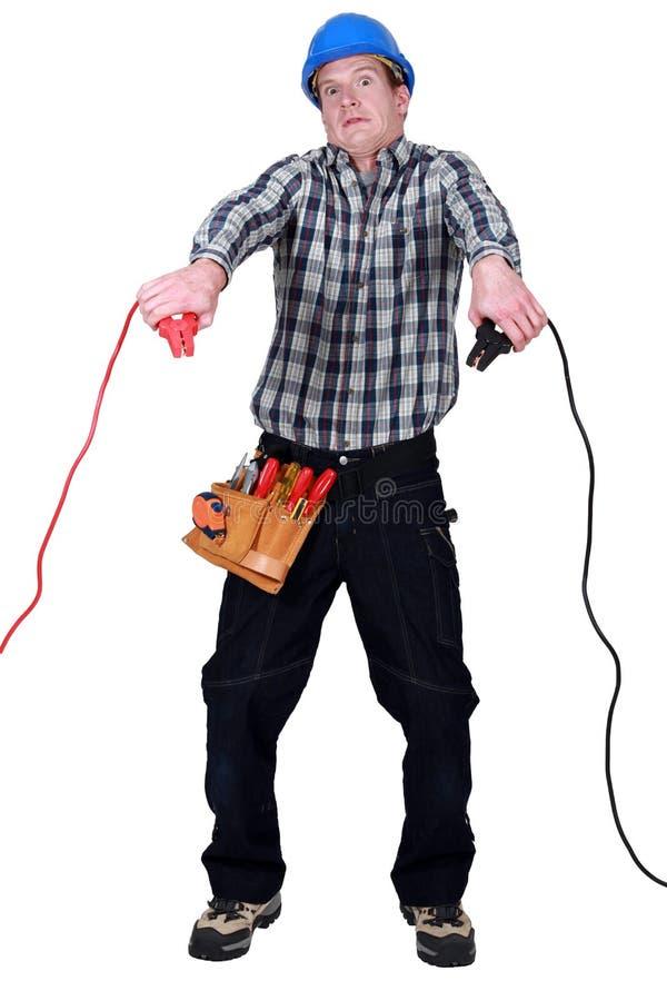 Electrian que parece asustado fotos de archivo