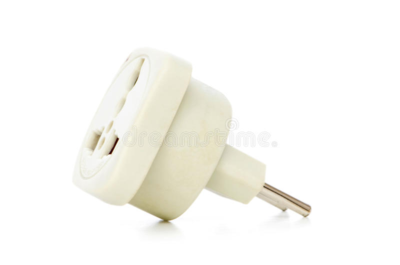 Electric adaptor isolated on the white. Background stock photography