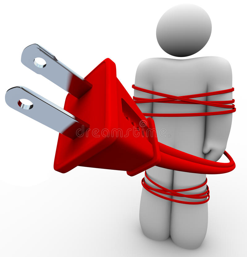 Electric Addiction - Cord Tied Around Person Royalty Free Stock Image