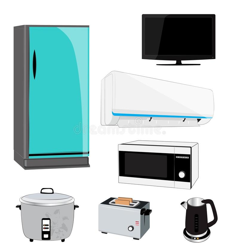 Electric appliance. On white background stock illustration