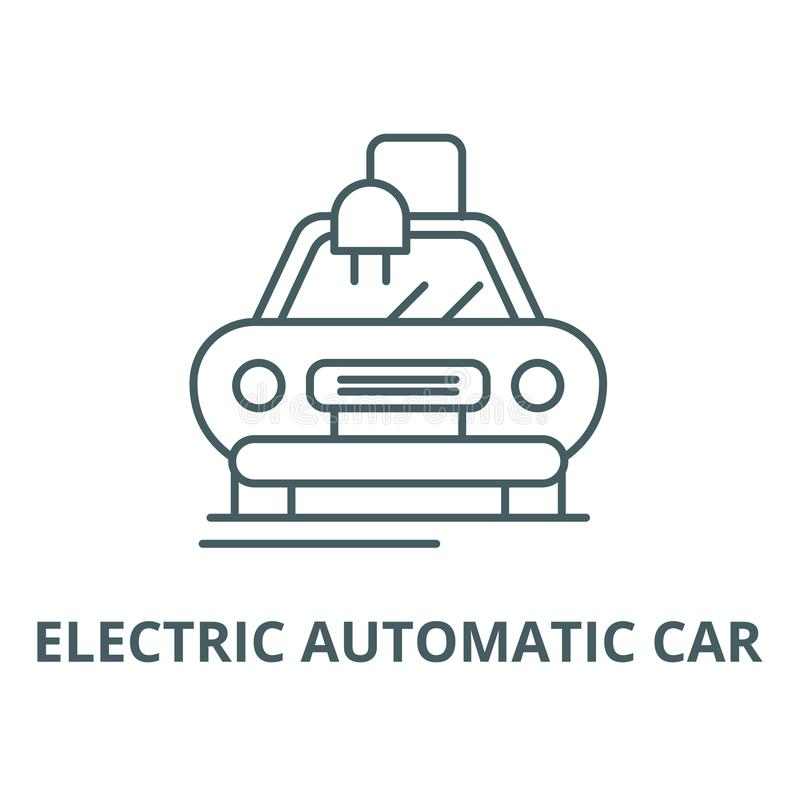 Electric automatic car line icon, vector. Electric automatic car outline sign, concept symbol, flat illustration vector illustration