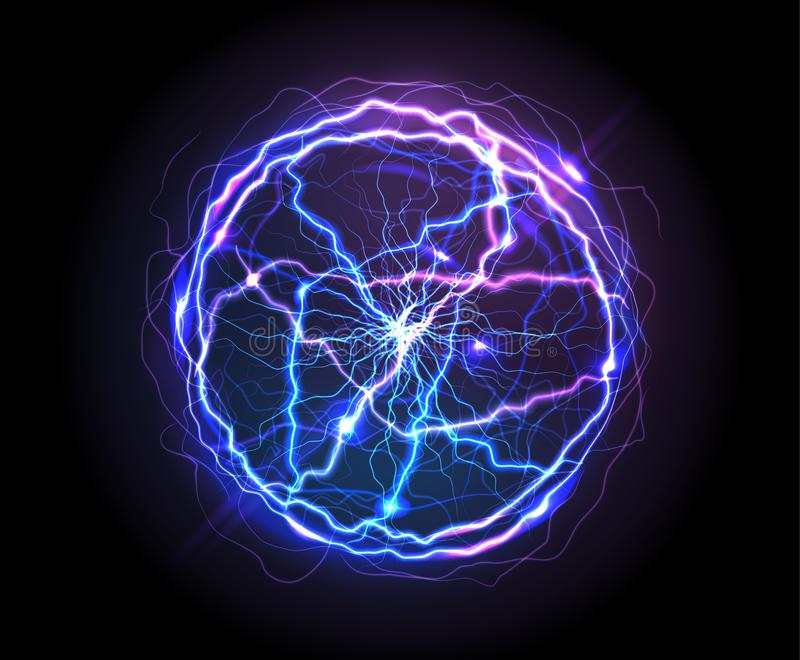 Realistic electric ball or abstract plasma sphere royalty free illustration