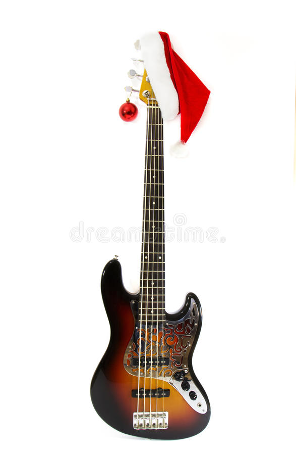 Electric Bass Guitar with Noel cab. Silver pickguard Electric Bass Guitar with red noel cab stock photography