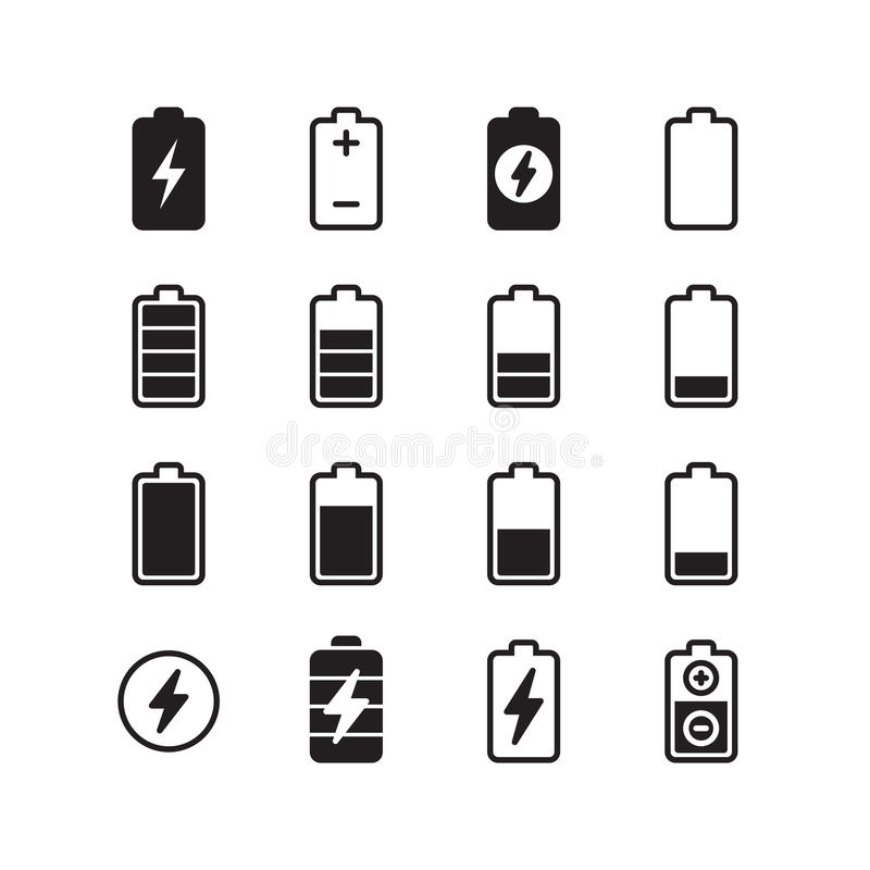 Electric Battery, Accumulator Energy Vector Icons Set Stock Vector ...