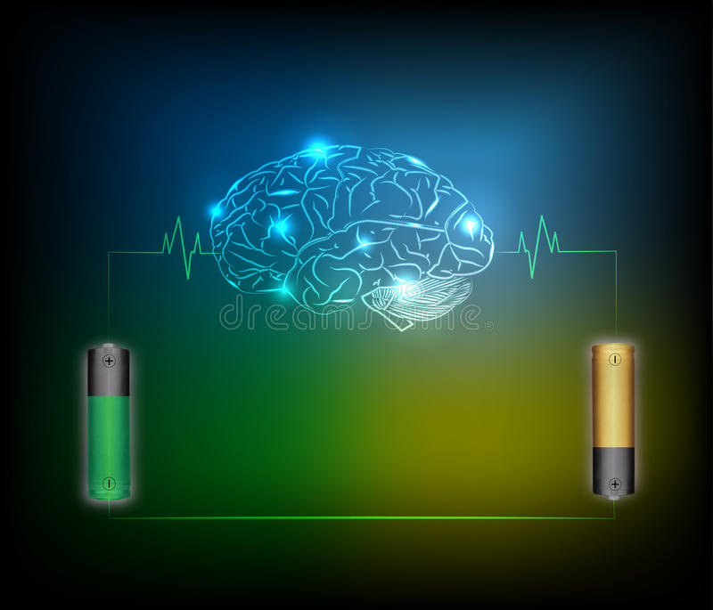 Electric battery energy charge brain, dark blue light abstract vector illustration