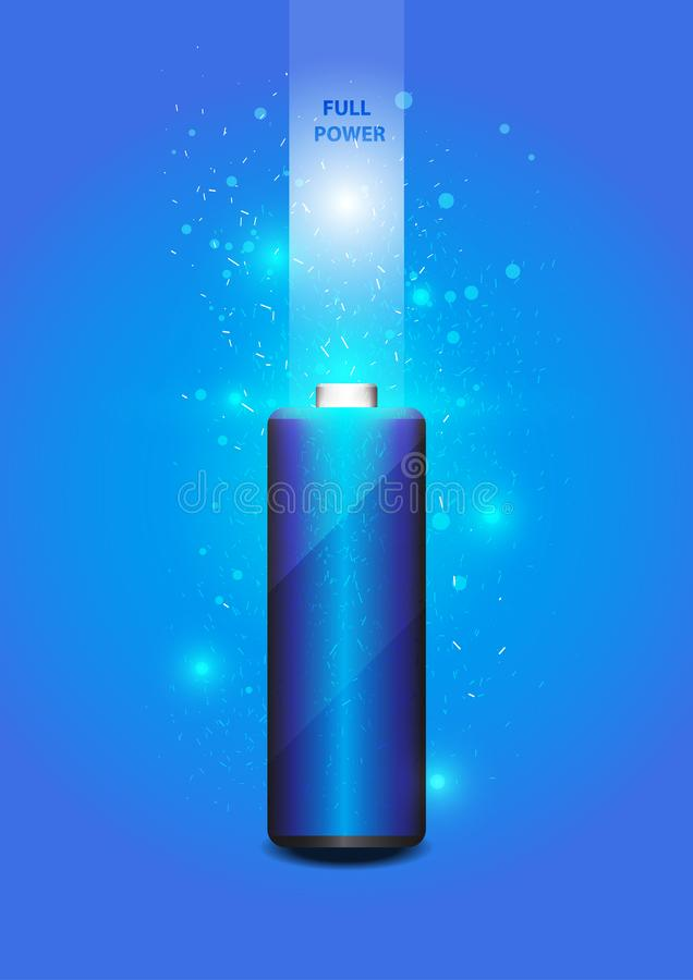 Electric battery energy, illustration. Blue Light Abstract Technology background for computer graphic website internet stock illustration