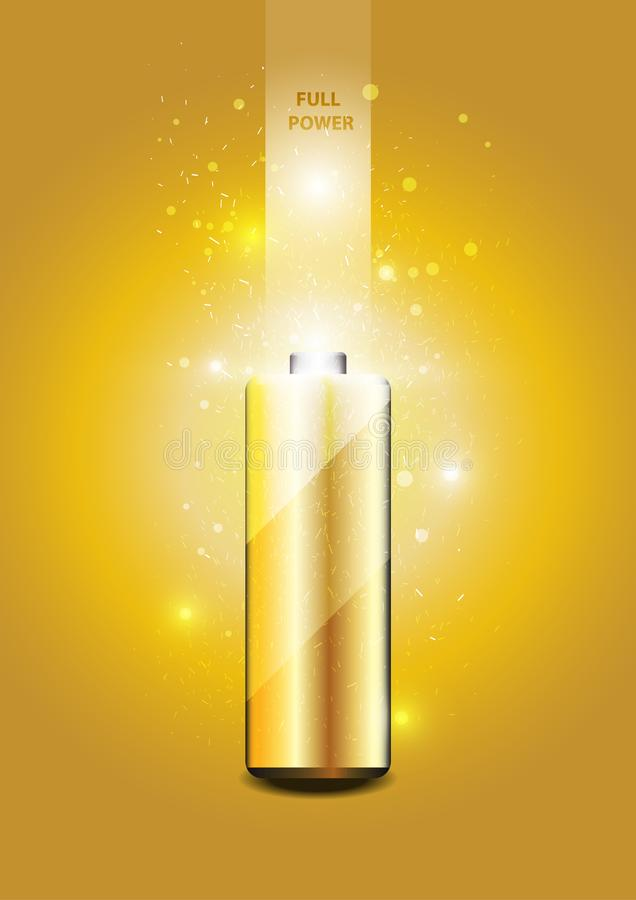 Electric battery energy, illustration. Gold light Abstract Technology background for computer graphic website internet vector illustration