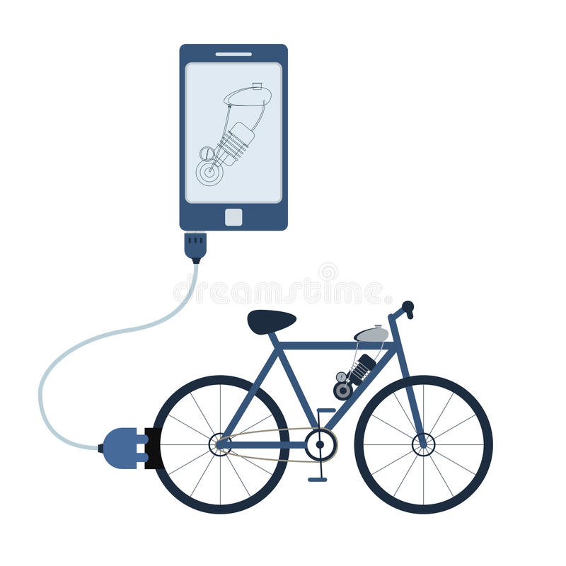 Electric bicycle automation using cell phone. Electric bicycle connected to a cell phone through a usb cable. Outline of the motor being shown on the mobile vector illustration