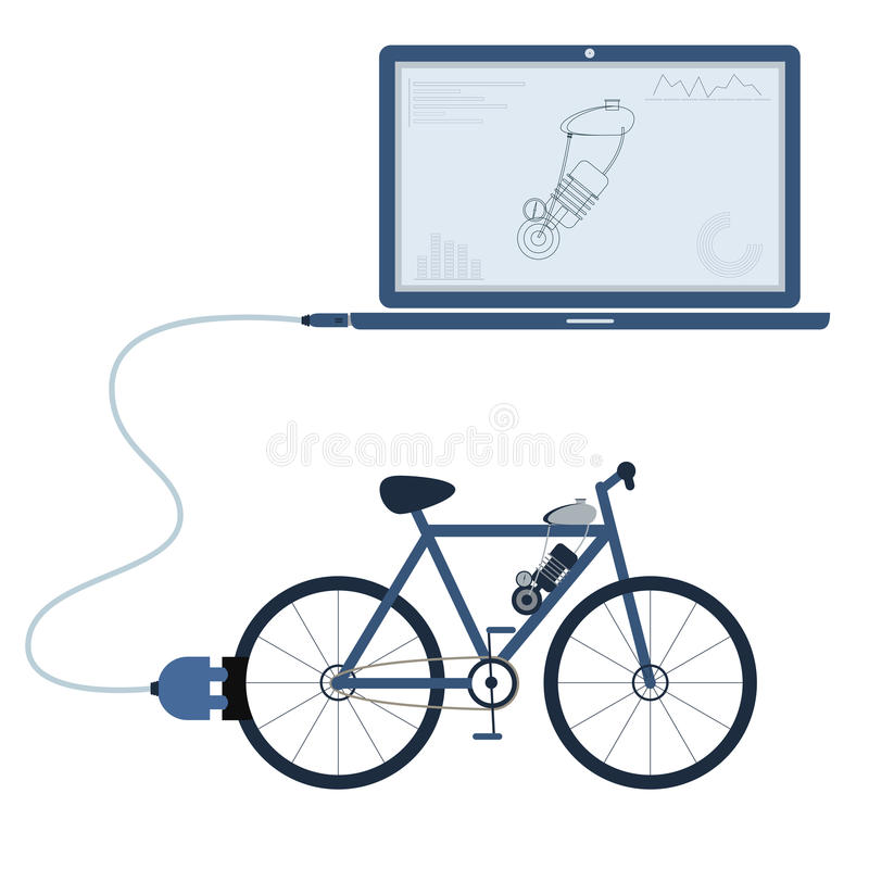 Electric bicycle automation using laptop. Electric bicycle connected to a laptop through a usb cable. Outline of the motor and graphs being shown on the computer stock illustration