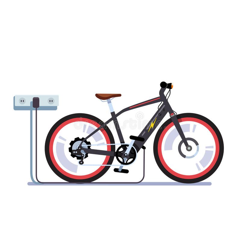 Electric bicycle charging batteries with outlet royalty free illustration